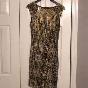 Python print day dress with gold zipper details